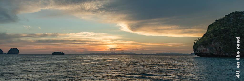Bild Abendstimmung - Krabi, das Bild zeigt einen Sonnenuntergang am Meer