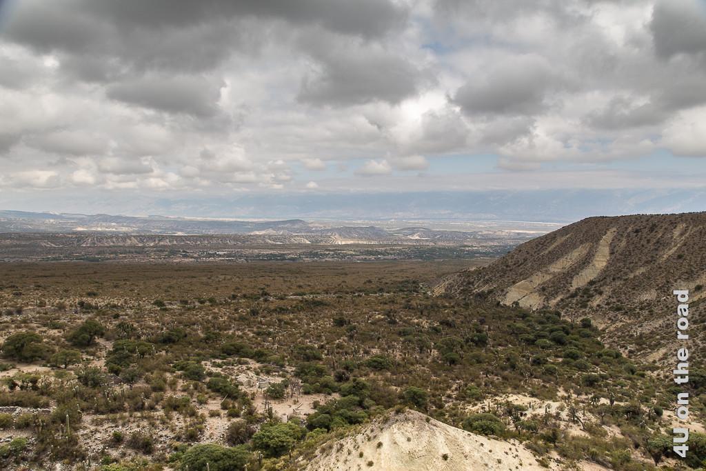 Bild Ausblick am Abra El Infiernillo zurück ins Tal in einer anderen Richtung, wo die Wolken noch nicht so dunkel sind. Die Landschaft ist durch niedriges Gestrüpp auf sandigem Boden gekennzeichnet.