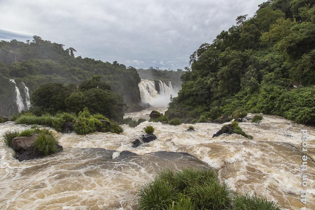 Bild Iguazu, Brasilianische Seite - Blick vom Steg im Wasser flussabwärts über das tosende Wasser hinweg, das die Terrasse hinabströmt. Im Hintergrund weitere Wasserfälle dazwischen Urwald.