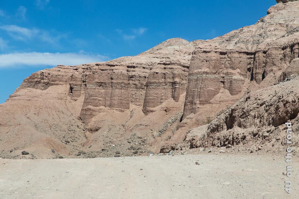 Bild Die Berge verändern ihr Aussehen (Valle Calchaquies). Rotbraun wachsen sie fast senkrecht aus der Talsohle nach oben wie die Mauern einer Trutzburg. An ihren Füssen Schüttkegel von rotbraunem Sand und kleinen Steinen aus ihrer Verwitterung.
