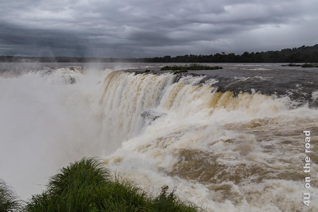Bild Iguazu - Teufelsschlucht Impression 1; es zeigt den als Teufelsschlucht benannten tiefen Kessel an den Iguazu Wasserfällen, in den von fast allen Seiten tosend Wasserfälle stürzen. Nur durch eine Schmale Öffnung kann das Wasser abfliessen. Eine permanente Gischtwolke steht in und über dem Kessel.