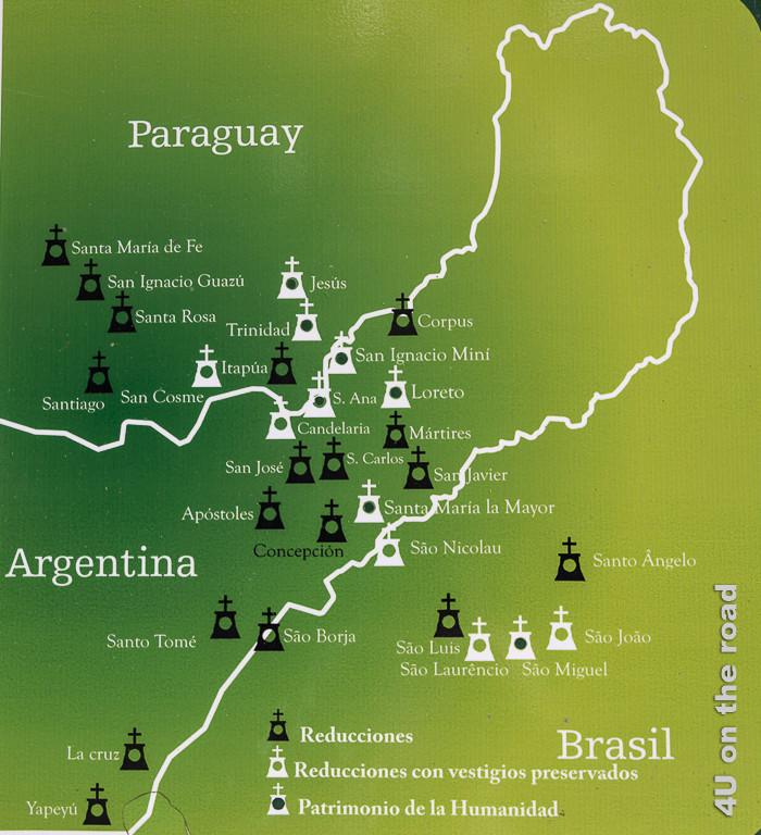 Karte der Missionsruinen in Brasilien, Paraguay und Argentinien - Provinz Misiones