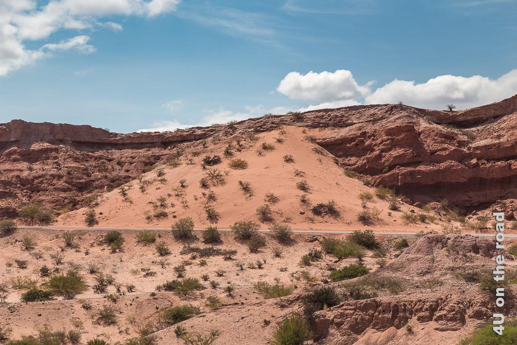Bild Quebrada de las Conchas - Eine Düne neben der Strasse aus rotem Sand, bestanden mit ein paar wenigen, niedrigen und armseligen Büschen.