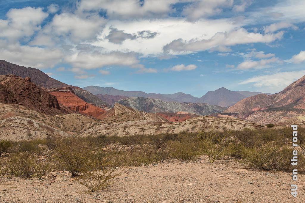 Bild Quebrada de las Conchas - Jetzt wird es wieder bunt. Eine Landschaft aus Hügelzügen breitet sich vor dem Auge aus, mit rot-, braun-, gelb- und weiss-Tönen durchsetzt. Jeder Hügel scheint seine eigene aber andere Farbtönung zu haben.