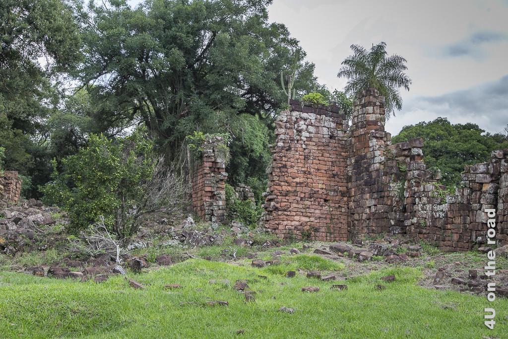 Bild Mission Santa Ana - Ruinen - Provinz Misiones. Mauerreste in einer Wiese, teils vom Grün überwuchert. Direkt dahinter beginnt der Wald mit dichten, hohen Bäumen und Palmen.