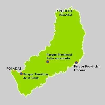 Karte mit den Parks der provinz Misiones in Argentinien. Drei Provinzparks sind angezeigt, der parque Tematico de la Cruz, der Parque Provincial Salto encantado und der Parque Provincial Mocona.