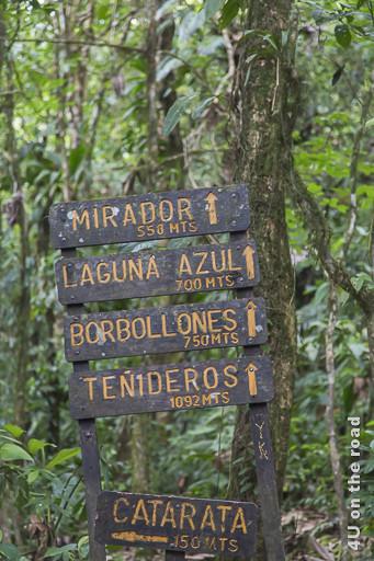 Bild Wegweiser im Vulkan Tenorio Nationalpark, zeigt die Sehenswürdigkeiten und Entfernungen an
