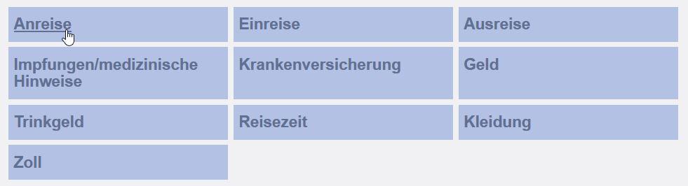Screenshot eines unserer Grids mit den Reisetipp-Themen als Kästchen mit Link zum jeweiligen Reisetipp-Beitrag