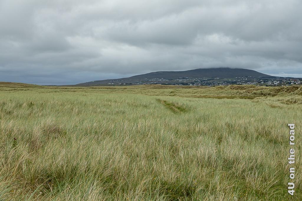 Das Bild Dünenlandschaft und tief hängende Wolken, Bunbeg zeigt im Vordergrund Dünen mit hohem Gras bewachsen, rechts einen mit Häusern übersäten Hügel in den Wolken.