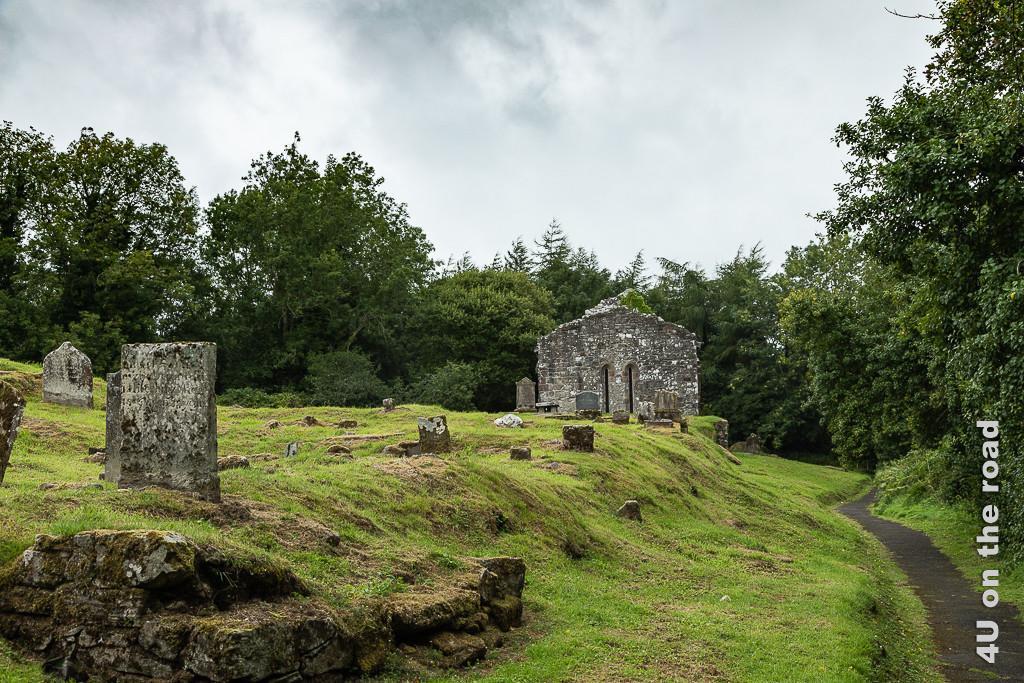 Bild Dungiven Priori zeigt verstreute Grabsteine auf einem Grasüberwachsenen Hügel und eine Kirchenruine.