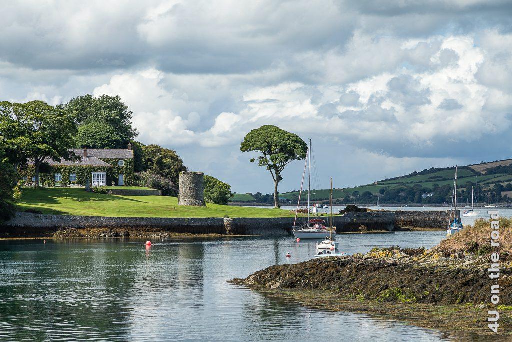 Bild Anwesen am Hafen von Strangford zeigt ein efeubewachsenes Haus mit auffällig weissen Fenstern und weite Rasenflächen auf denen unter anderem die Ruine eines Rundturms und ein markanter Baum steht. Das Haus ist von zwei Seiten von Wasser des Strangford Lough umgeben.