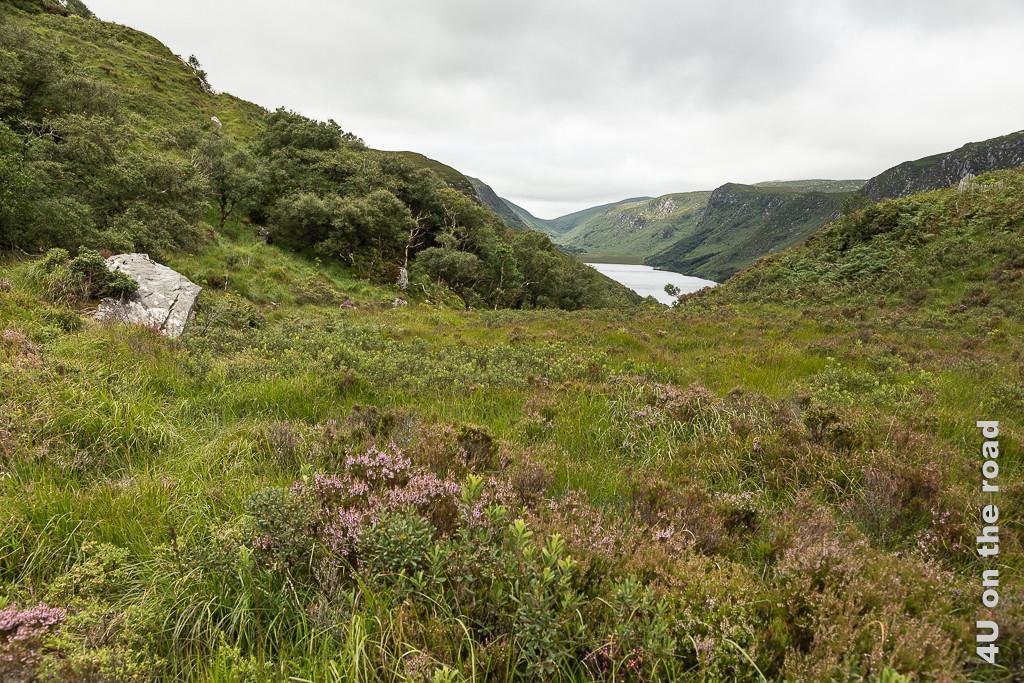 Vom Aussichtspunkt sieht man das Ende des Lough Veagh.