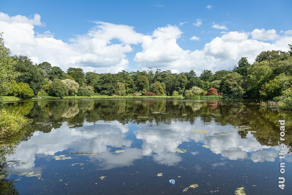 Spiegelung im See, Mount Stewart zeigt einen Teil des Sees umgeben von verschiedensten Bäumen mit unterschiedlicher Laubfarbe. Die Wolkentürme spiegeln sich im See.