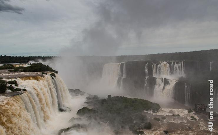 Bild zeigt die Schlucht, in die von beiden Seiten Wasserfälle stürzen und den Fluss in der Mitte der Schlucht. Überall steigt Gischt auf.