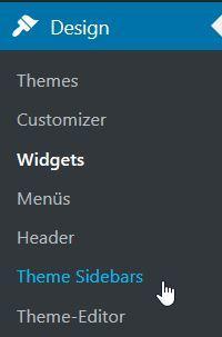 Easy Custom Sidebars Plugin im WordPress Menu