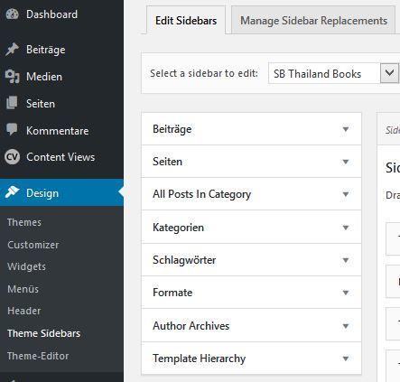 Easy Custom Sidebars Kategorien
