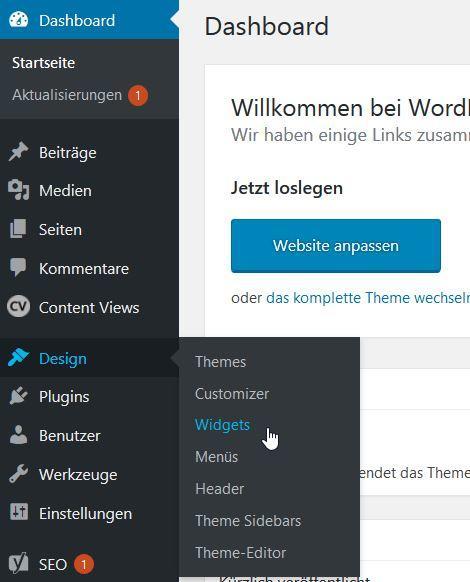 Wordpress Menu Deutsch Design Widgets