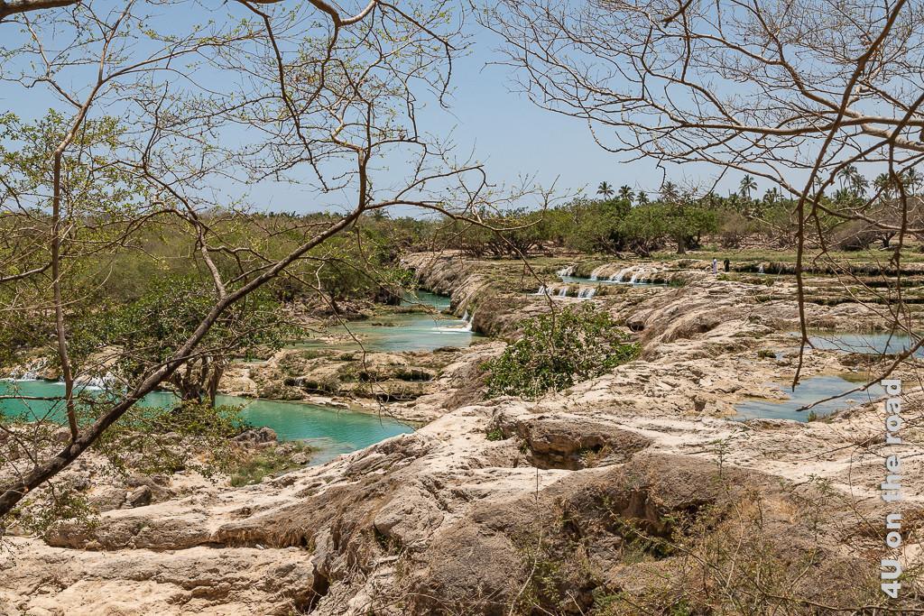 Bild Kalksteinterrassen mit Wasserfällen zeigt die Terassen von der Seite. Überall ergiessen sich kleine Wasserfälle in Sammelbecken.