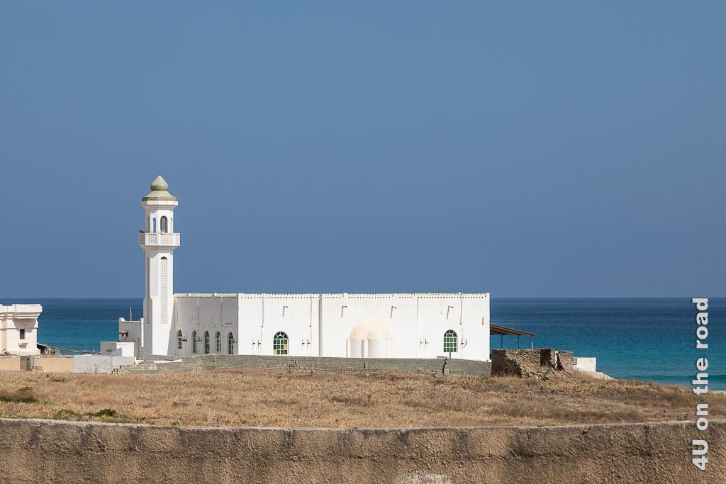Bild Dhalkut, Oman - Starker Farbkontrast zeigt ockerfarbene Mauer mit braunem Gras, dahinter erhebt sich die weisse Moschee vor dunkelblauem Meer und blaugrauem Himmel.