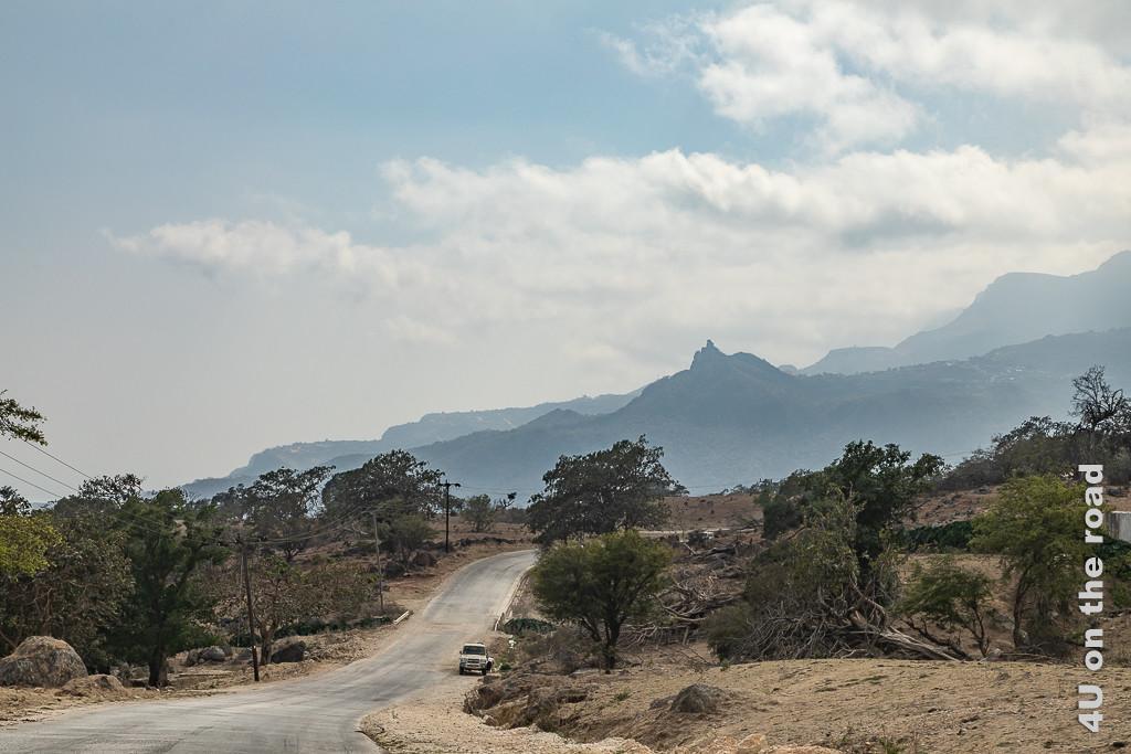 Bild Auf dem Weg nach Sarfait - Küste im Dunst zeigt die Strasse, welche rechts und links von hohen Bäumen umgeben wird. Im Hintergrund erheben sich teilweise spitze Felsen in den dunstigen Himmel.