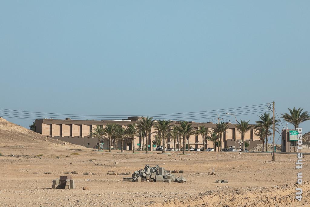 Bild Ras al Jinz Turtle Reserve - Hotel mit Kiemen zeigt das Hotel hinter Palmen. Die Mauern, die wie Kiemen aussehen, beschatten die Fenster in dem 2 Etagengebäude.