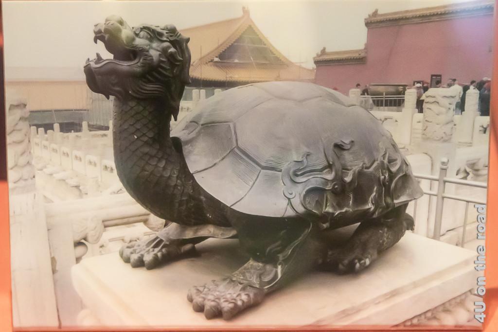 Verschmelzung von Stärke Weisheit. Bild zeigt einen chinesischen Drachen mit Schildkrötenpanzer