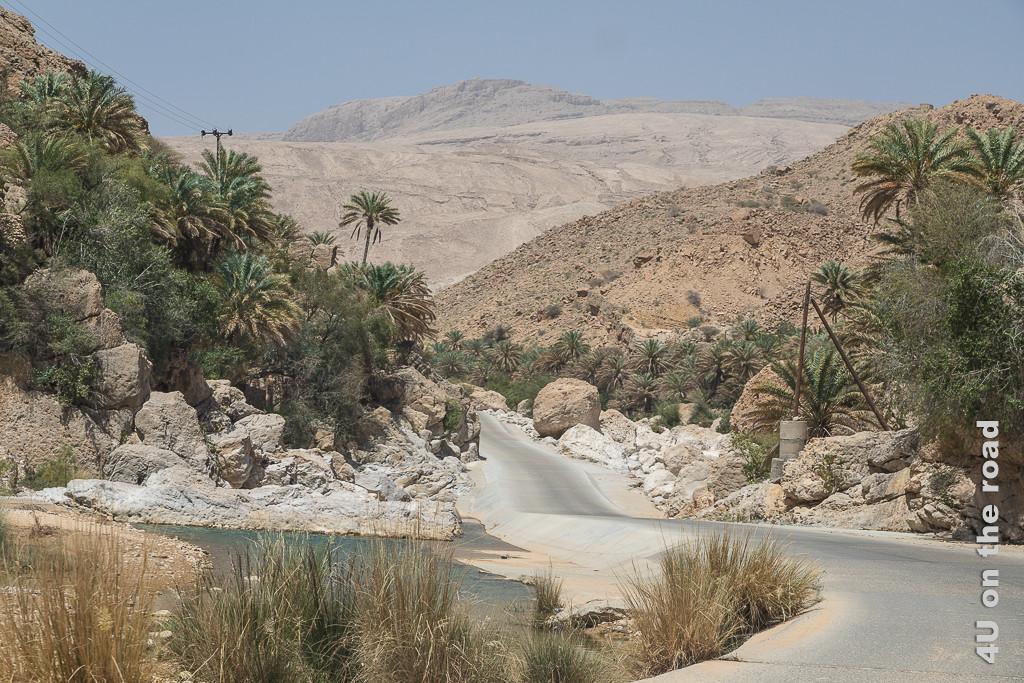 Wadi Bani Kalid - wir kommen Zeigt die Strasse neben dem Flusslauf mit üppigen Palmen und riesigen Felsbrocken rechts und links der Strasse, die bei einer Überflutung dort wohl hingerollt sind.