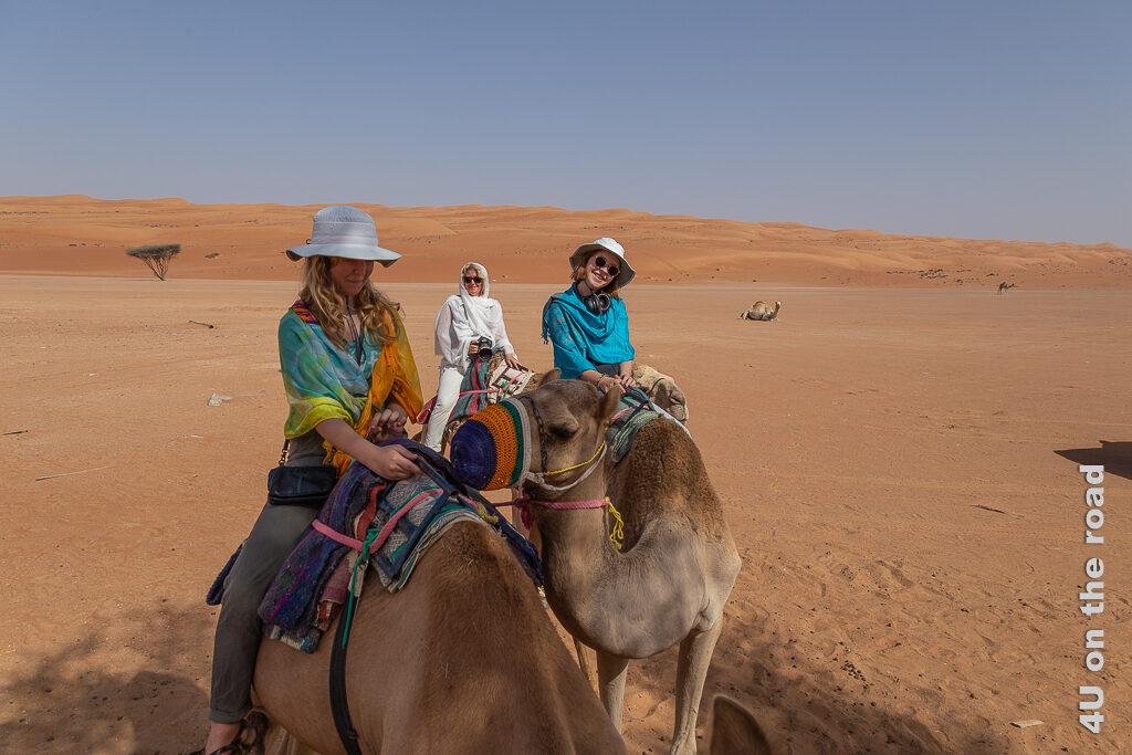 Fertig für den Kamelritt in die Wahiba. Das Bild zeigt die drei Damen zum Schutz vor der Sonne verhüllt auf ihren Kamelen. Auch der gehäkelte Maulkorb ist schön zu erkennen.