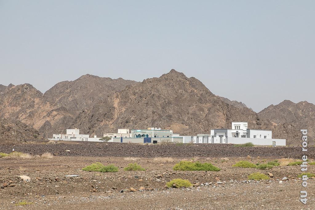 Auf dem Weg nach Al Hamra. Im Bild sieht man fünf grosse Häuser, weilche von Mauern umgeben sind. Unmittelbar dahinter türmen sich die Felsen des Hadjar Gebirges auf. Davor befindet sich eine steinige Ebene mit ein paar niedrigen grünen Büschen.