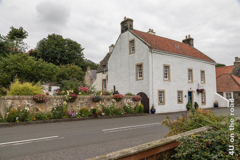 Culross - Haus an der Durchgangsstrasse - liebevoll restauriertes Haus mit drei Etagen und einem ummauerten Garten, der sogar ausserhalb der Mauer nur so blüht.