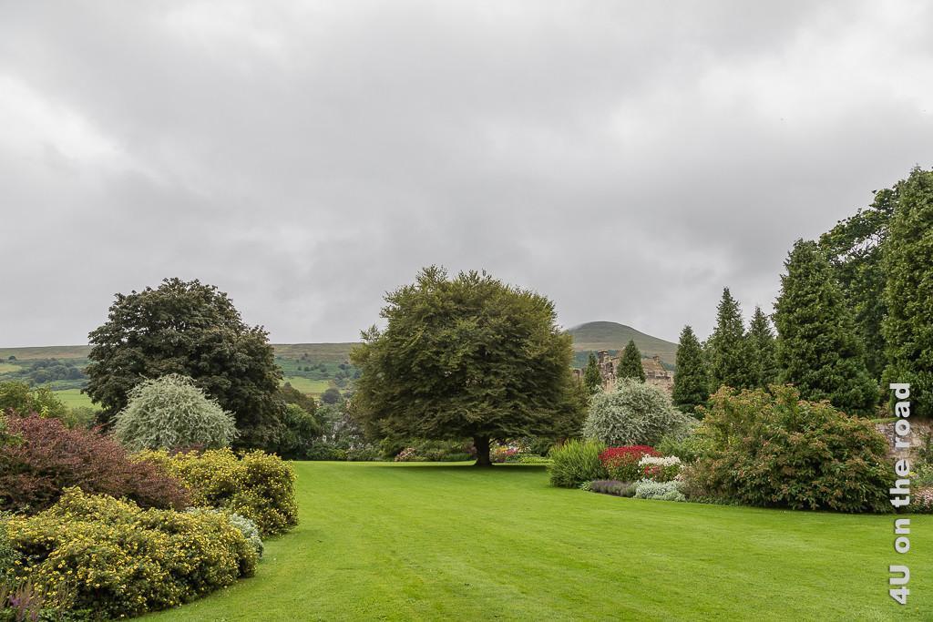 Im Schlosspark von Falkland Palace. Im Bild grosszügige Rasenfläche unterbrochen von Blumenrabatten. Hohe Bäume versperren die Sicht auf das Schloss. Im Hintergrund ein markanter Hügel