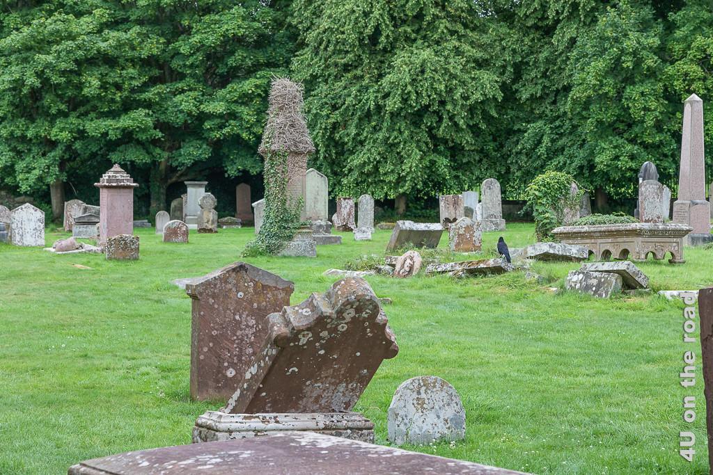 Melrose Abbey - Friedhof - Blick vom Turm des Kloster Melrose auf den Friedhof mit verwitterten, schräg stehenden Grabsteinen und Raben