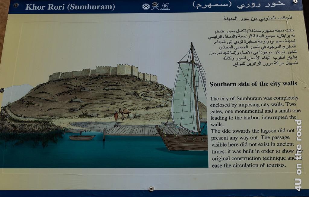 Erklärungstafel zum Hafen der antiken Stadt Sumhuram. Man sieht wie die Stadt auf einem Felsen drohnt, von einer starken Stadtmauer geschützt.