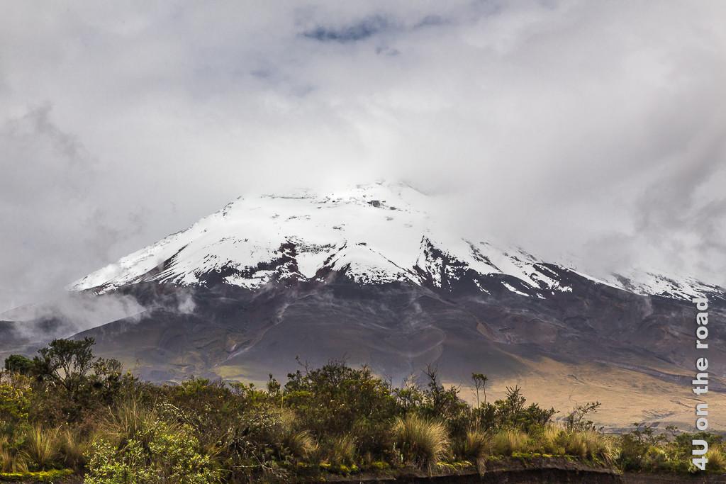 Für einen Moment reisst die Wolkendecke am Cotopaxi auf und wir können ihn sehen. Illustration beste Reisezeit für Ecuador.