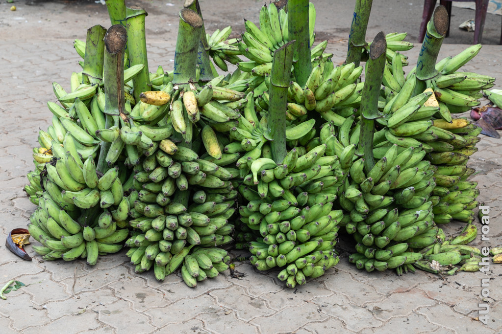 Bananenstauden stehen für den Abtransport bereit und warten nur noch auf den Träger vor der Markthalle in Dambulla.