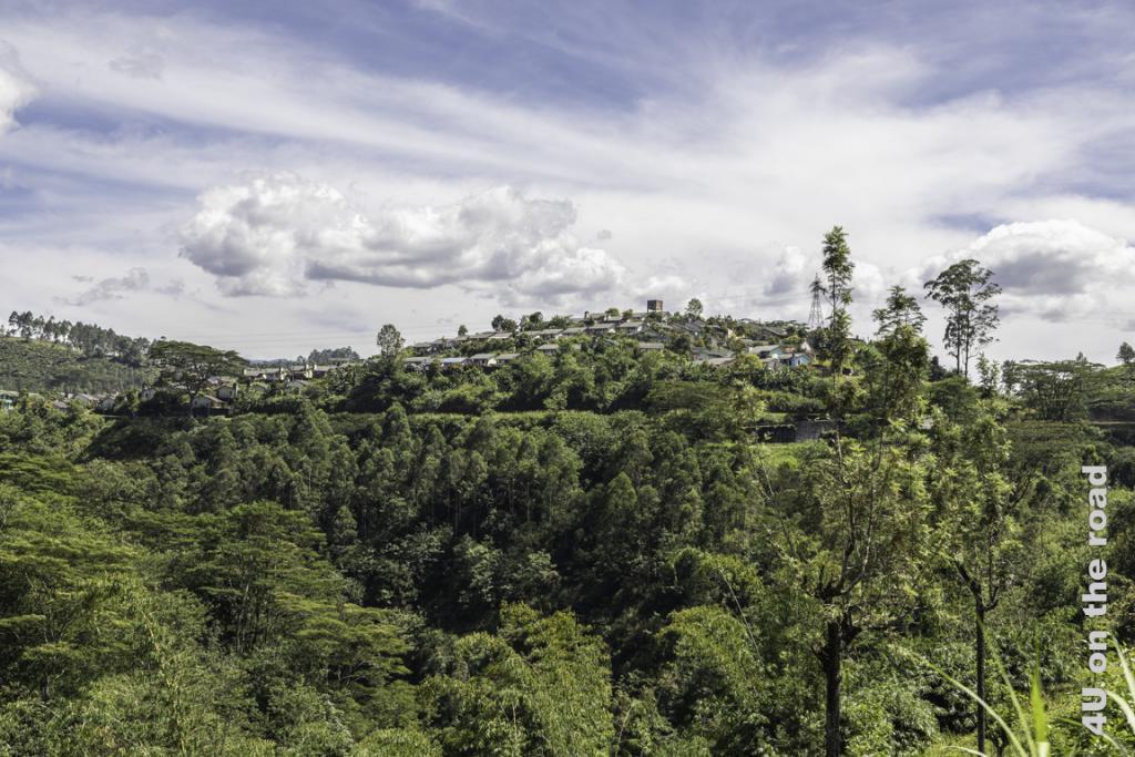 Dorf auf einer Hügelkuppe - Zugfahrt von Kandy nach Nuwara Eliya