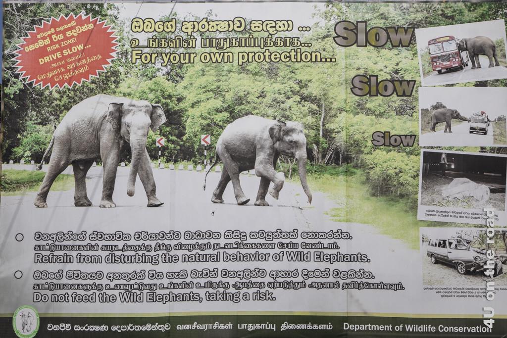 Warnschild vor Elefanten