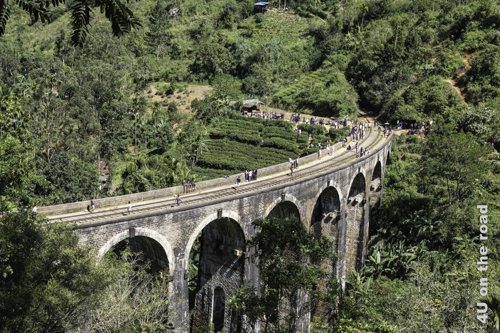 Warten auf den Zug auf der Nine Arches Bridge in Ella