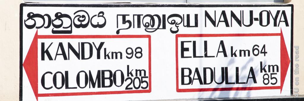 Entfernungsange für die Hochlandstrecke Colombo - Badulla - Bahn Sri Lanka