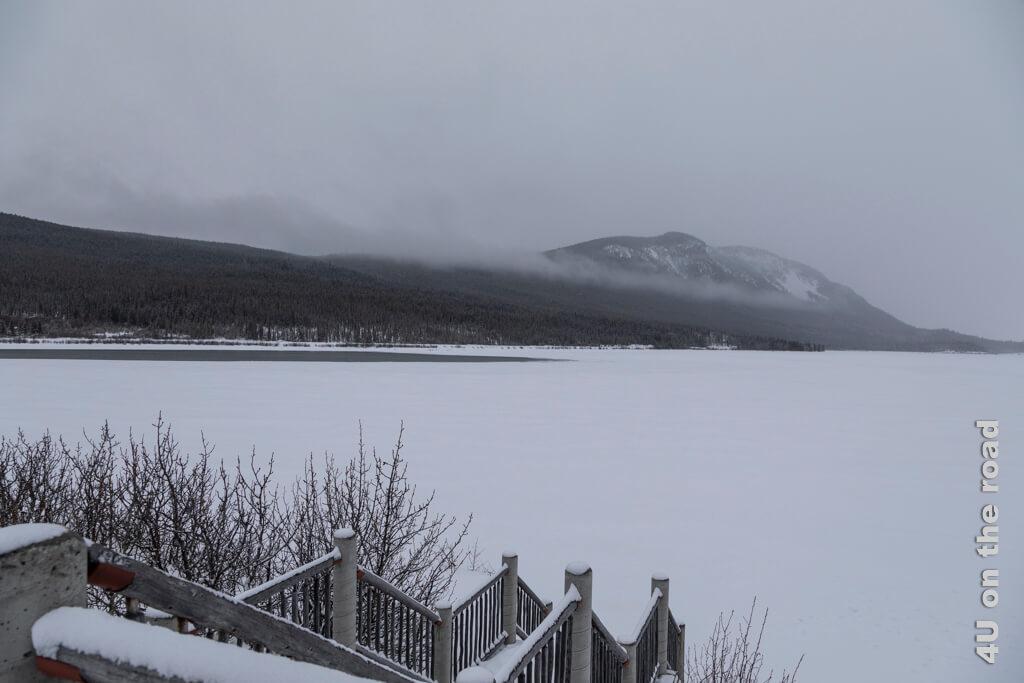 Hier müsste irgendwo der Strand des Bennett Lakes sein - Carcross