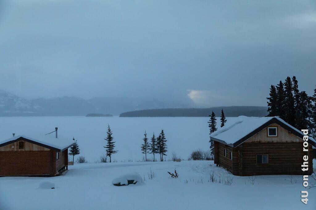 Am nächsten Morgen zeigt der Blick aus dem Fenster auf den Tagish Lake eine trostlose Weltuntergangsstimmung.
