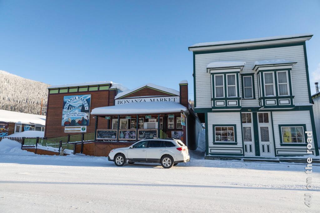 Der Bonanza Market ist ein kleiner Supermarkt mit grossem Angebot in Dawson City. Allerdings ist das Angebot an frischem Obst und Gemüse im Winter sehr begrenzt.