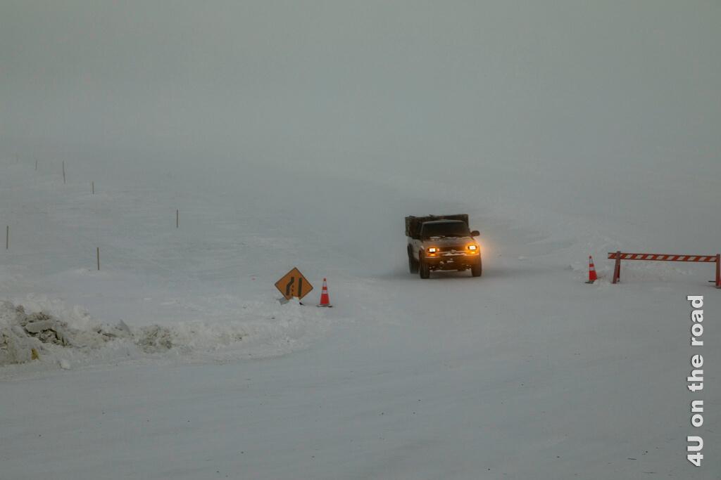 Das Auto hat die Fahrt auf der Ice Bridge gut überstanden