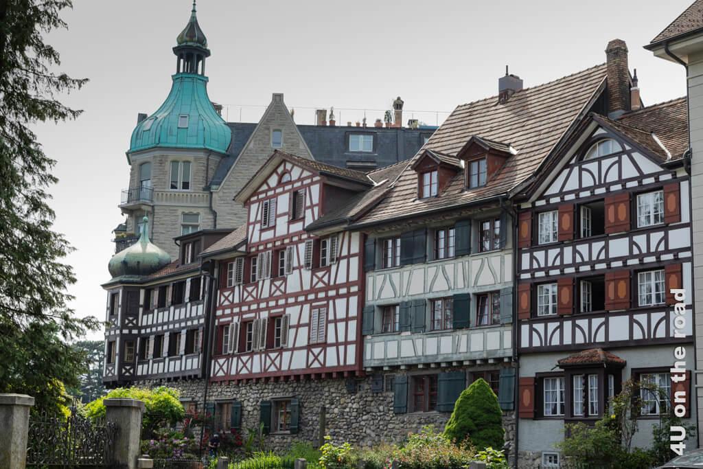 Fachwerkhäuser auf der alten Stadtmauer in Arbon