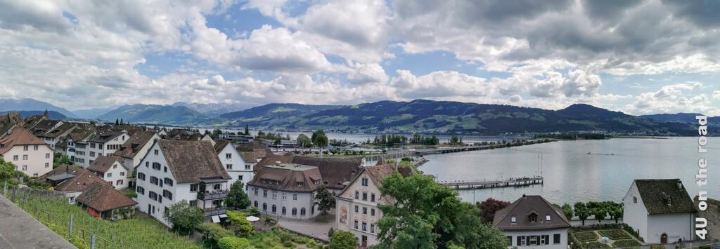 Panorama Rapperswil mit Seedamm vom Schlossberg aus gesehen