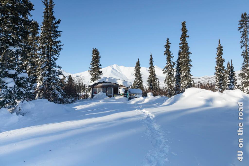 In dieser Schutzhütte steht ein guseiserner Ofen, Bänke und Tische. Die Hütte hat glücklicherweise auf beiden Seiten einen Eingang, so dass wir nicht erst Schnee schaufeln müssen - Tombstone Territorial Park