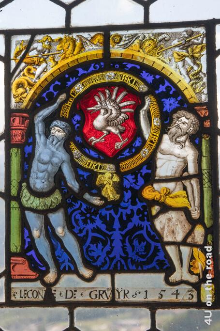 Bleiglasfenster mit Wappen der Grafen von Gruyères