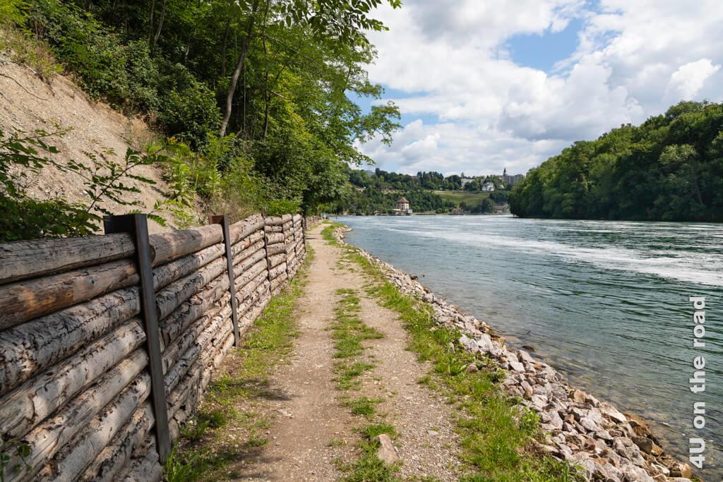 In der Sonne direkt am Wasser zum Rheinfall laufen.