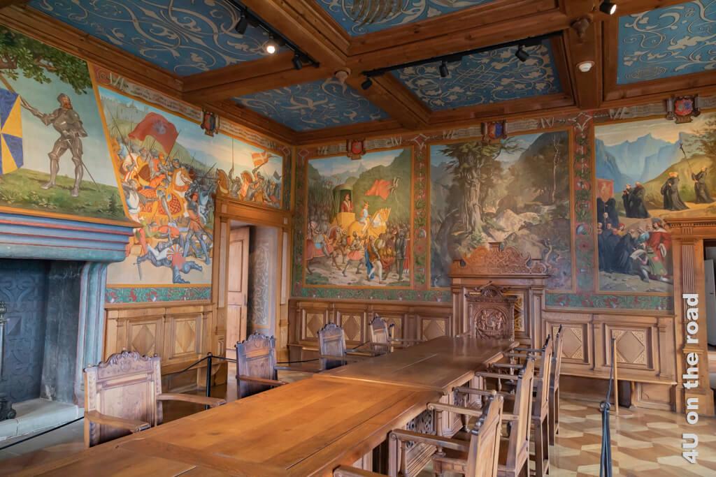 Der Rittersaal im Schloss Gruyères