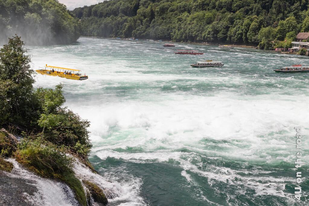 Schiffe im vom Rheinfall aufgewühlten Rhein